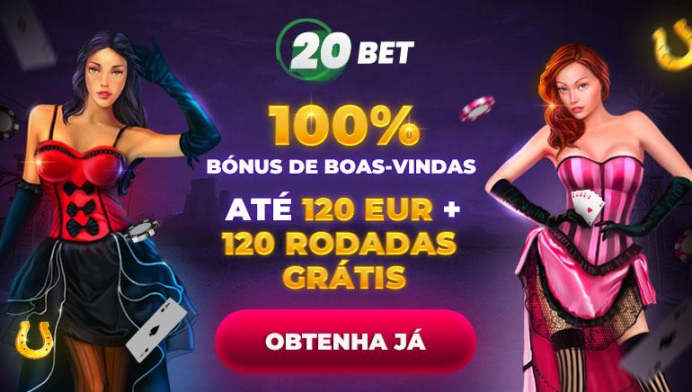 100% bónus de boas-vindas até 120 eur + 120 rodadas grátis