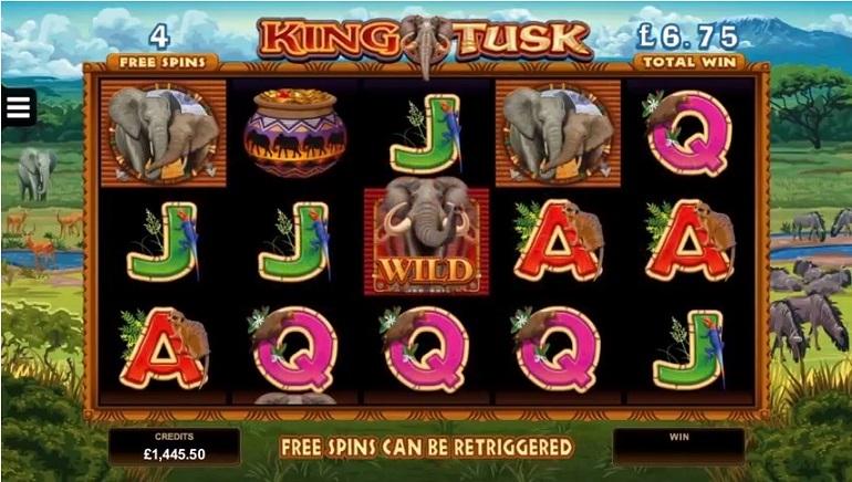 Novo King Tusk Slot, Com Tema de Elefante, dos Lançamentos da Microgaming