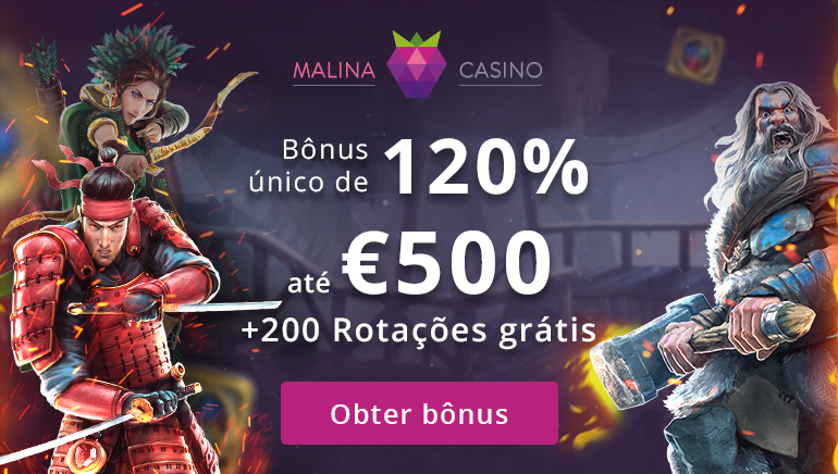 Bónus Exclusivo de Boas-Vindas de 120% até 500€ no Malina Casino